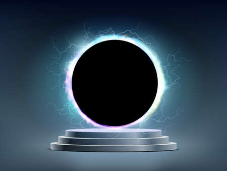 Round black portal with electrical discharges above the podium with steps. Vector background