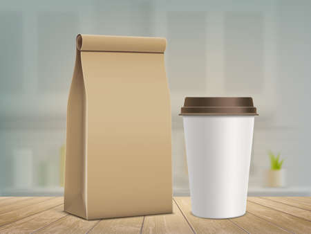 Paper bag and a mug with fresh coffee on wooden table. Vector template Stock Illustratie