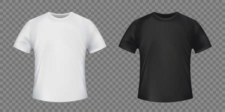 Set of white and black t-shirt. Template isolated on transparent background. Vector illustration.