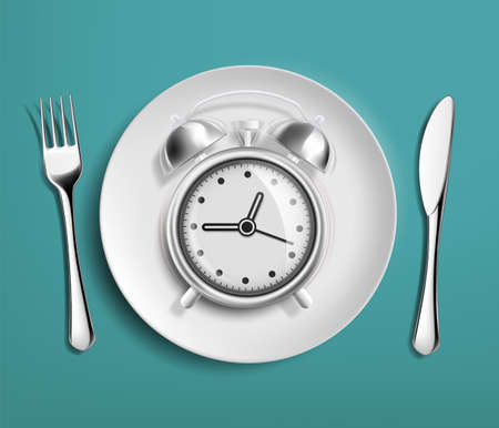 Alarm clock in an empty plate. Diet and nutrition. Vector illustration.