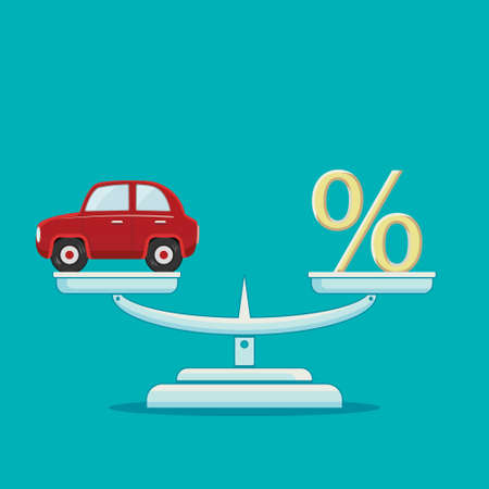 Car and percent sign on scales. Loan and insurance concept. Vector illustration.