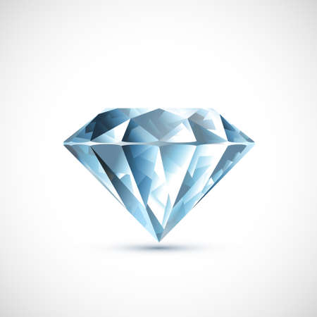 Precious blue diamond Isolated on white background. Vector icon