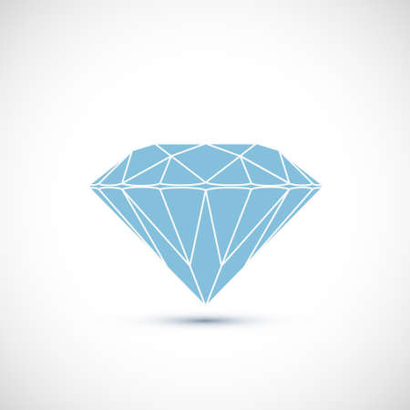 Blue diamond Isolated on white background. Vector icon Stock Illustratie