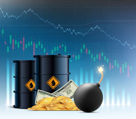 Barrel of crude oil. Decline financial charts on the background. Economic crisis and bankruptcy. Vector illustration