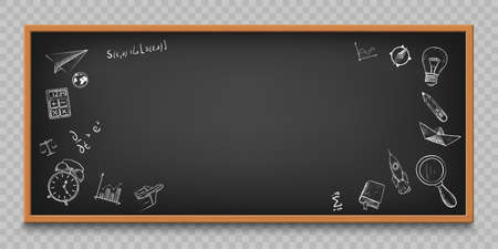 Blackboard with sketches and doodles. Back to school background with copy space. Template isolated on a transparent background. Vector illustration