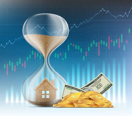 Hourglass with a house on the background of financial charts and graphs. Real estate sales and mortgages. Vector illustration.
