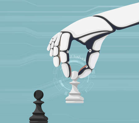 Robot holds a pawn and plays chess. Vector illustration. Stock Illustratie