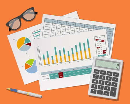 Accounting paper documents with financial charts and graphs lie on the desktop. Vector illustration