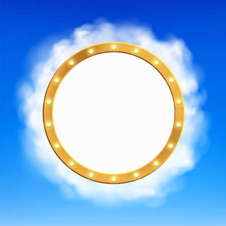 Round blank frame with copy space in the clouds. Vector background for presentation