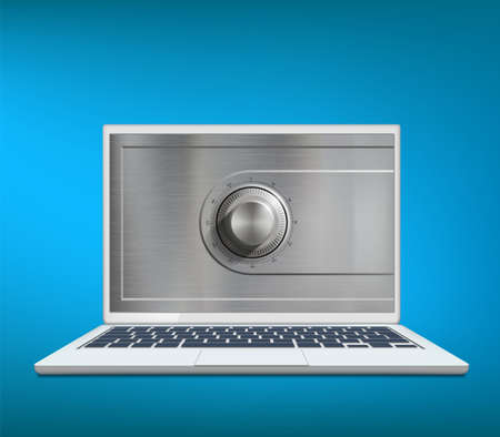 Safe metal lock on laptop screen. Data protection. Vector illustration