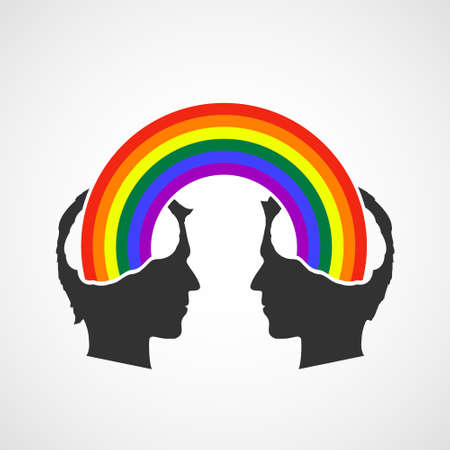 LGBT couple in love with a colorful rainbow in their heads. Vector illustration