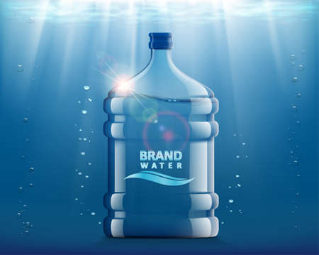 Bottle with clean fresh water. Plastic container for the cooler and dispenser. Vector illustration. Ilustración de vector