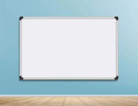 White marker board for business and school. Hangs on the wall indoors. Vector background