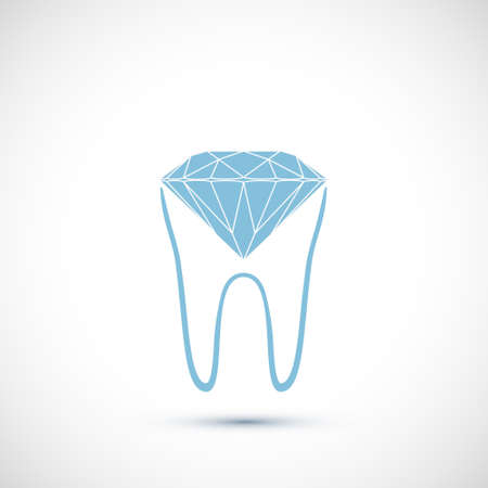 Human tooth with a faceted diamond. Logo isolated on a white background. Vector icon