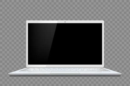 Laptop template with blank black screen. Isolated on transparent background. Vector mockup.