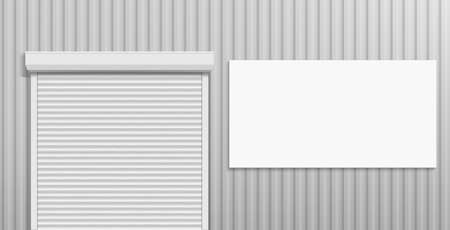Facade of an industrial building with shutters doors and a white banner for advertising. Vector illustration