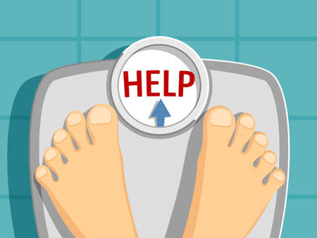 Human legs on the scales with the inscription help. Weight loss concept. Vector illustration