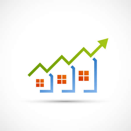 Real estate logo. Growing financial sales chart. Vector icon. Stock Illustratie