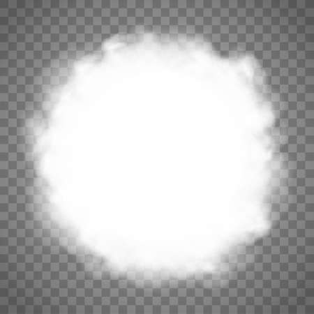 Round frame from clouds. White abstract smoke texture.