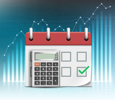Calculator and calendar with due date. Payment time. Vector illustration. Against the background of financial graphs and charts Stock Illustratie