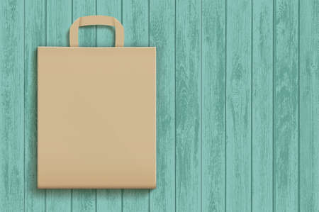 Empty brown paper bag on a wooden surface. Vector template. Mockup for advertising