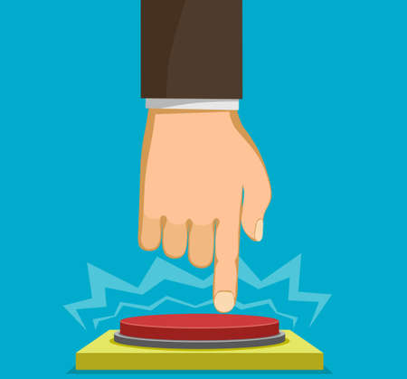 Man presses his finger on the red button. Vector illustration.