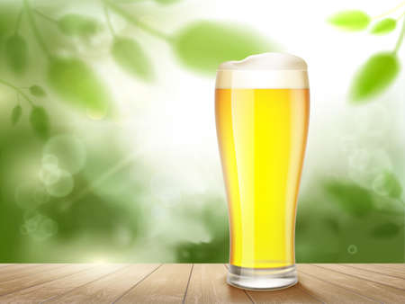 Glass of light beer standing on a wooden table outdoors. Vector illustration.