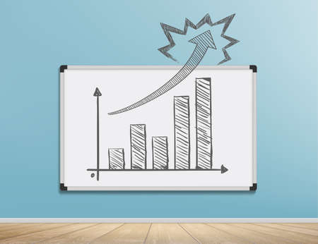 Growing financial graph with an arrow is drawn on a marker board.