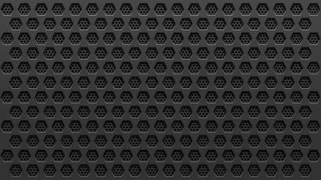 Metal black perforated background with hexagonal holes. Geometric pattern on steel. Vector illustration. 向量圖像