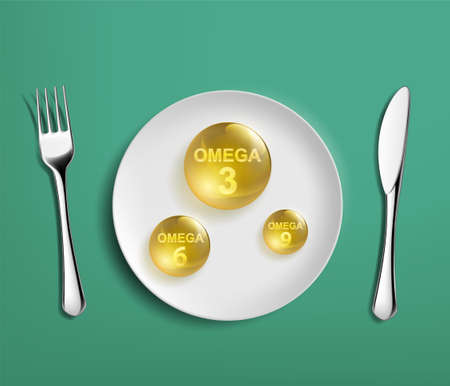 Pill vitamins omega 3, omega 6 and omega 9 on a plate. Vector illustration