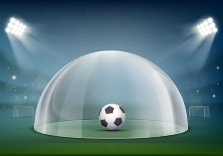 Soccer ball under the glass dome on the stadium. Virus protection. Vector illustration Stock Illustratie