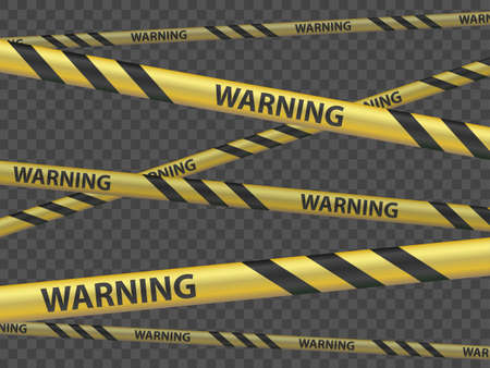 Cordon tape with the word warning. Template isolated on a transparent background. Vector illustration Stock Illustratie