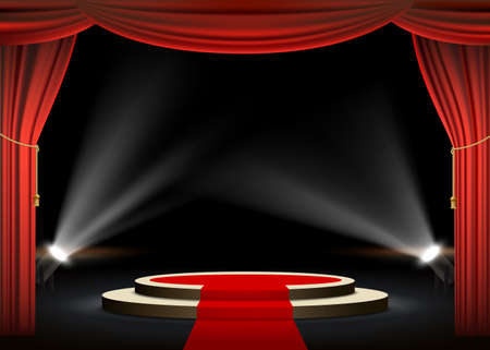 Round podium with red carpet and curtain. Illuminated by spotlights.