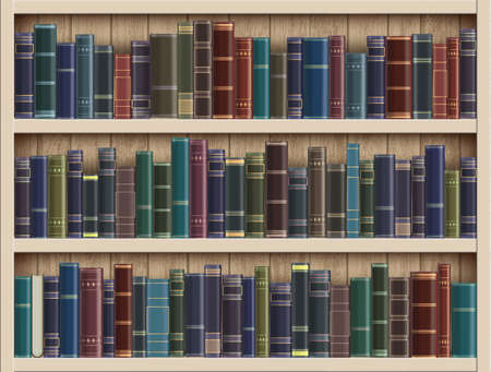 Many books on a wooden bookshelf in the library.