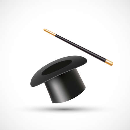 Magic wand and magic hat. Icon isolated on white background 向量圖像