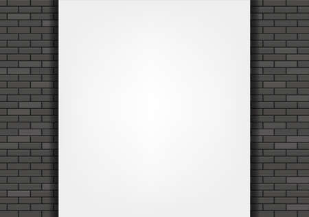 White blank banner on a black brick wall. Vector background