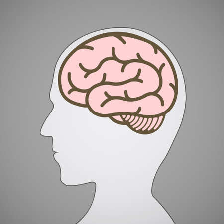 Silhouette of human head with a brain symbol.