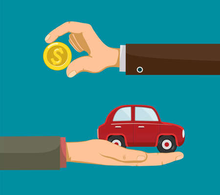 People are holding in the hands money and a car. Buying an auto. Vector illustration Stock Illustratie