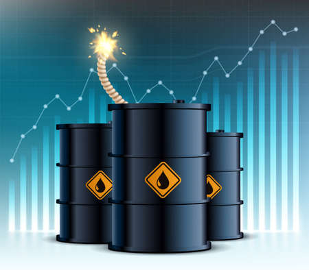 Barrel with oil and a wick from a bomb on the background of financial charts. Vector illustration.