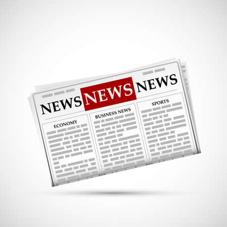 Newspaper  isolated on white background. Stock Illustratie
