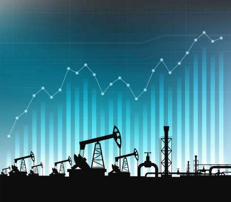Oil pump on background of financial graphs and charts. Vector illustration