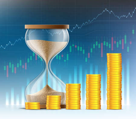 Hourglass and stacks of gold coins on the background of financial charts and graphs. Vector illustration. Stock Illustratie