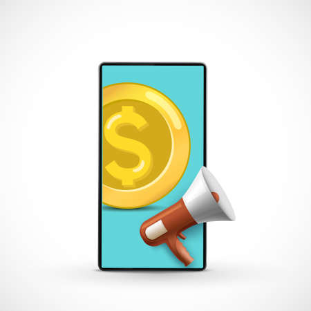 Gold coin dollar currency and megaphone on smartphone screen. Cashback concept. Money refund. Vector illustration. 向量圖像