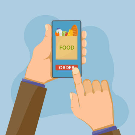Customer orders food via a smartphone in an online store.