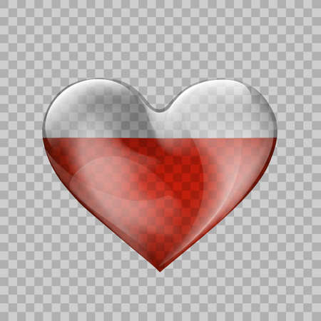 Glass transparent heart shape with human blood inside. Vector illustration