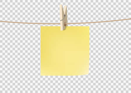 Yellow paper sticky note hanging on a rope with a clothespin. Template isolated on a transparent background. Vector background with copy space