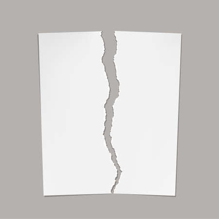 White torn sheet of paper. Isolated on gray background. Template with copy space. Vector illustration.