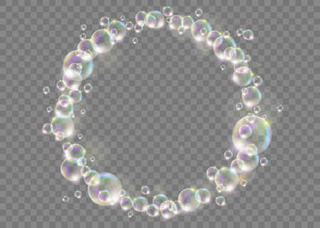 Circle ring made of soap bubbles. Template isolated on a transparent background. Vector illustration