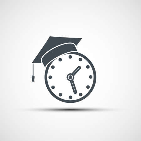 Clock with graduation cap on top. Education logo isolated on a white background. Vector icon.