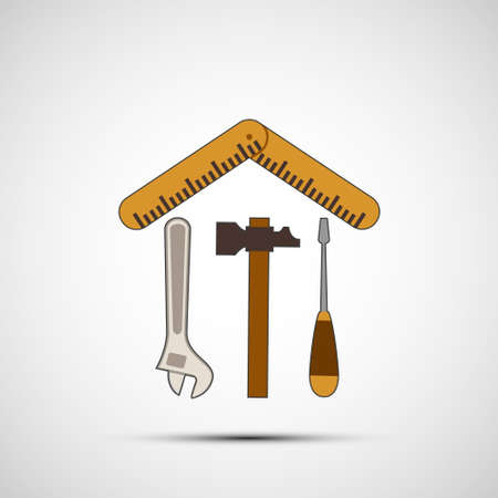 Wrench, hammer and screwdriver with a ruler isolated on white 向量圖像